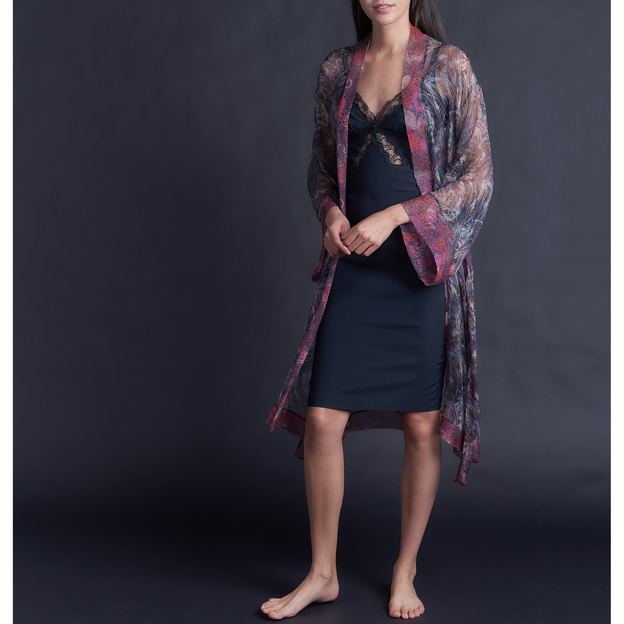 Knee Length Robe in Print Block Saxby Liberty Silk Crinkle Chiffon