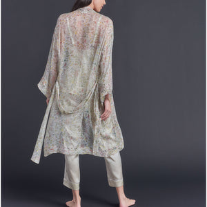 Selene Knee Length Robe in Print Block Wildflower  Liberty Silk Crinkle Chiffon
