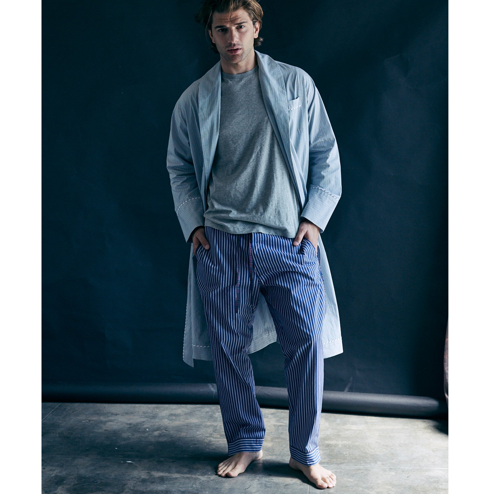Saturn Pajama Pant in Blue and White Stripe Italian Cotton
