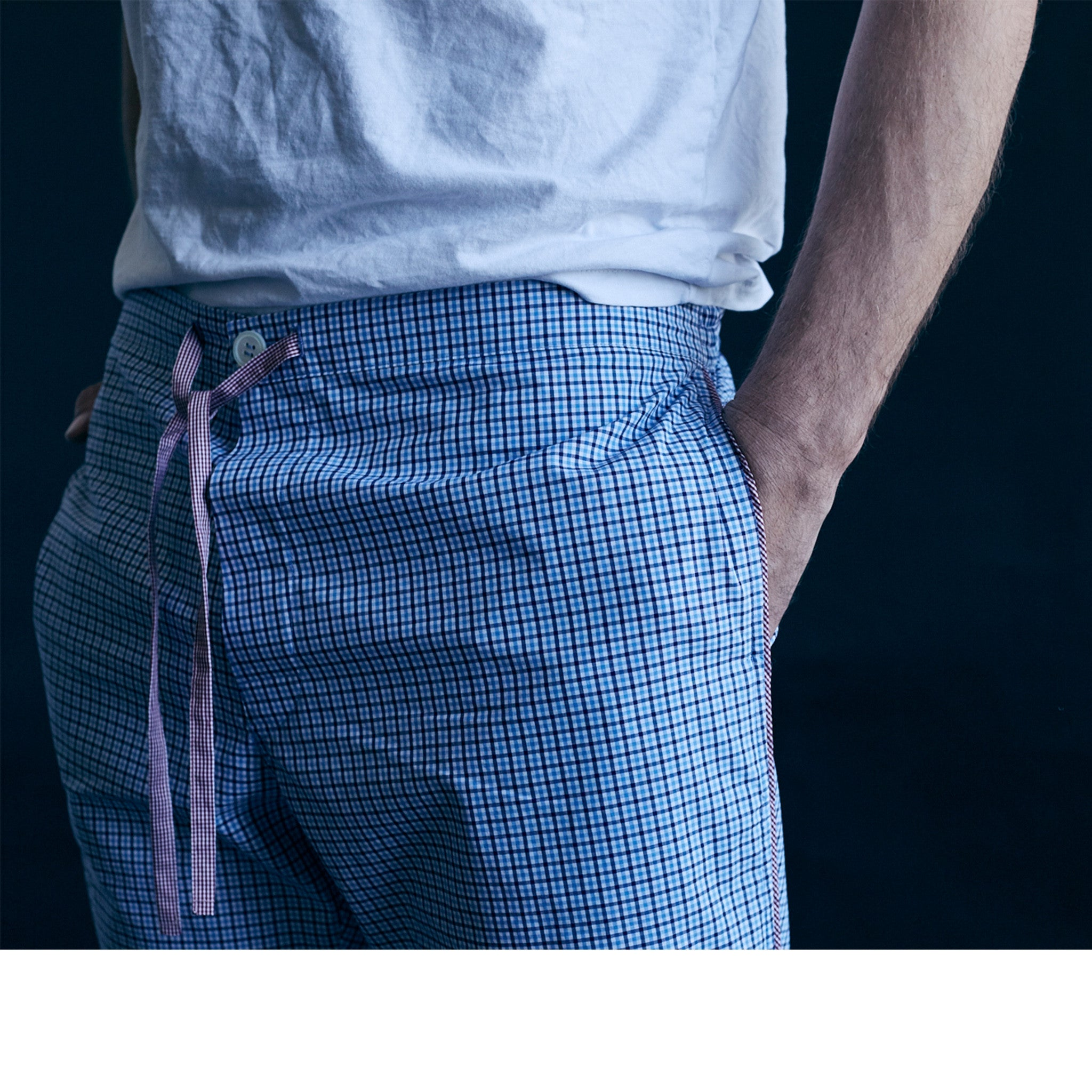 Saturn Pajama Pant in Blue Micro Check Italian Cotton