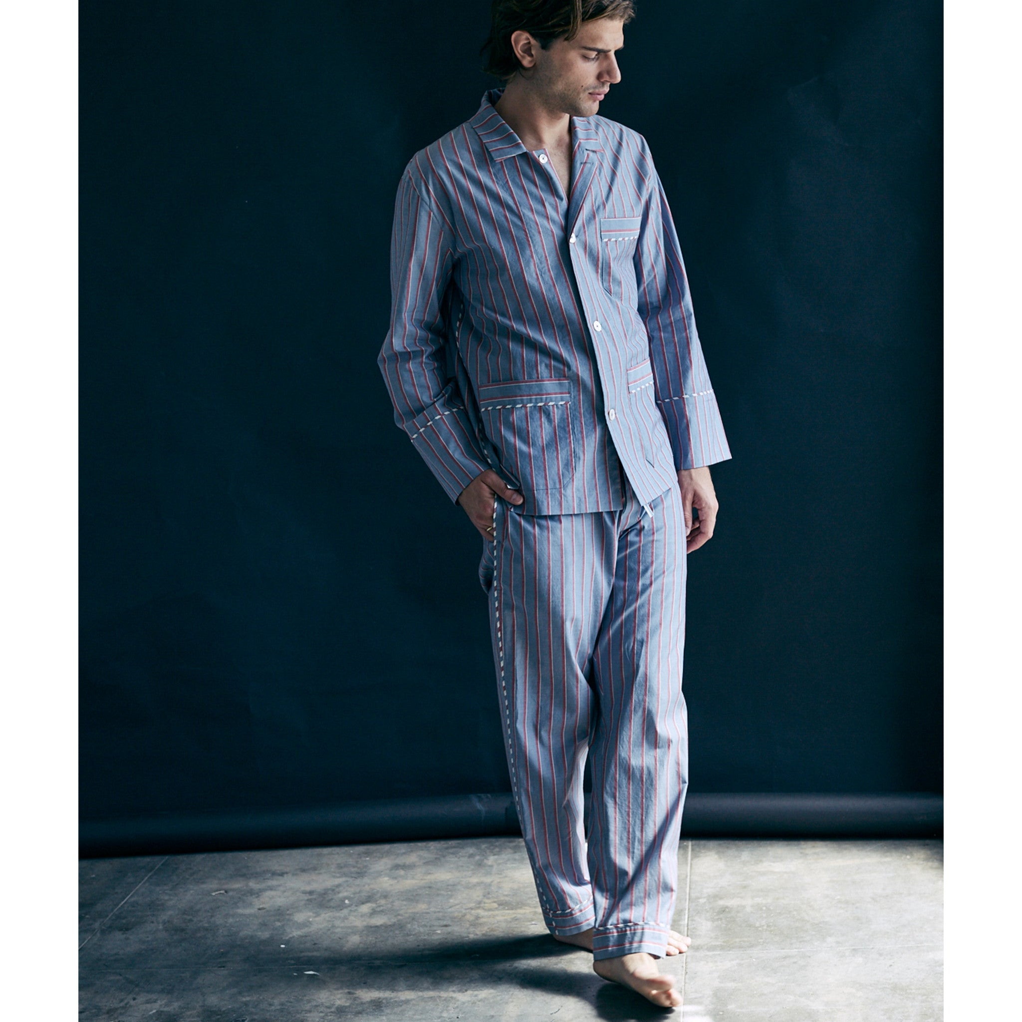 Hyperion Pajama Shirt in Grey with Red Stripe Italian Cotton