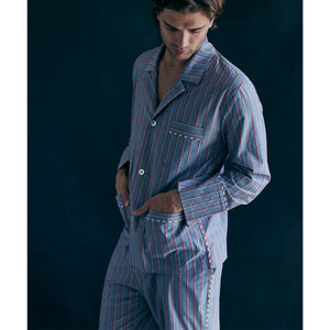 Saturn Pajama Pant in Grey and Red Stripe Italian Cotton