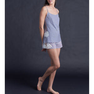 Olwen Camisole in Italian Navy Check Cotton