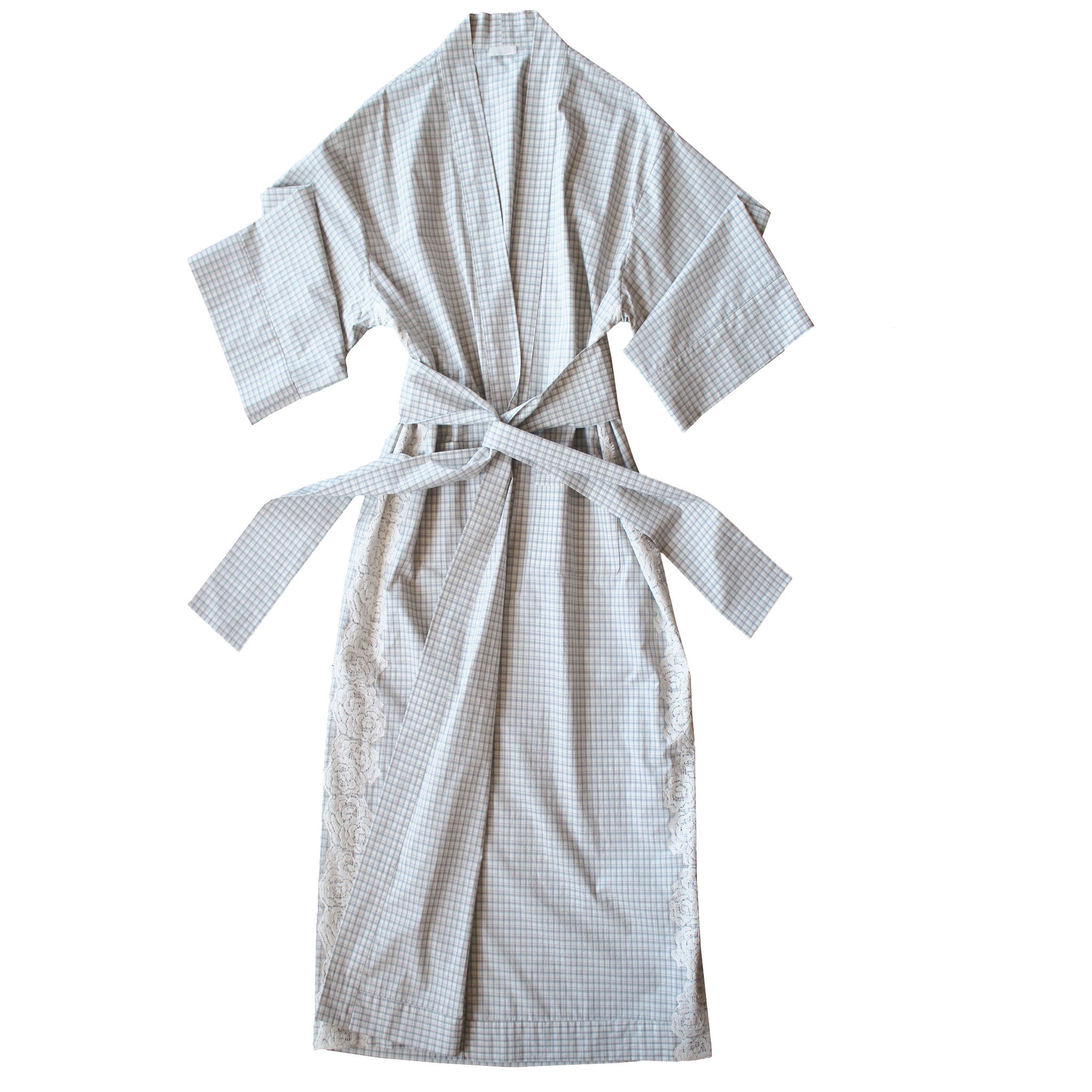 Asteria Kimono Robe in Italian Cotton Taupe Ivory Check