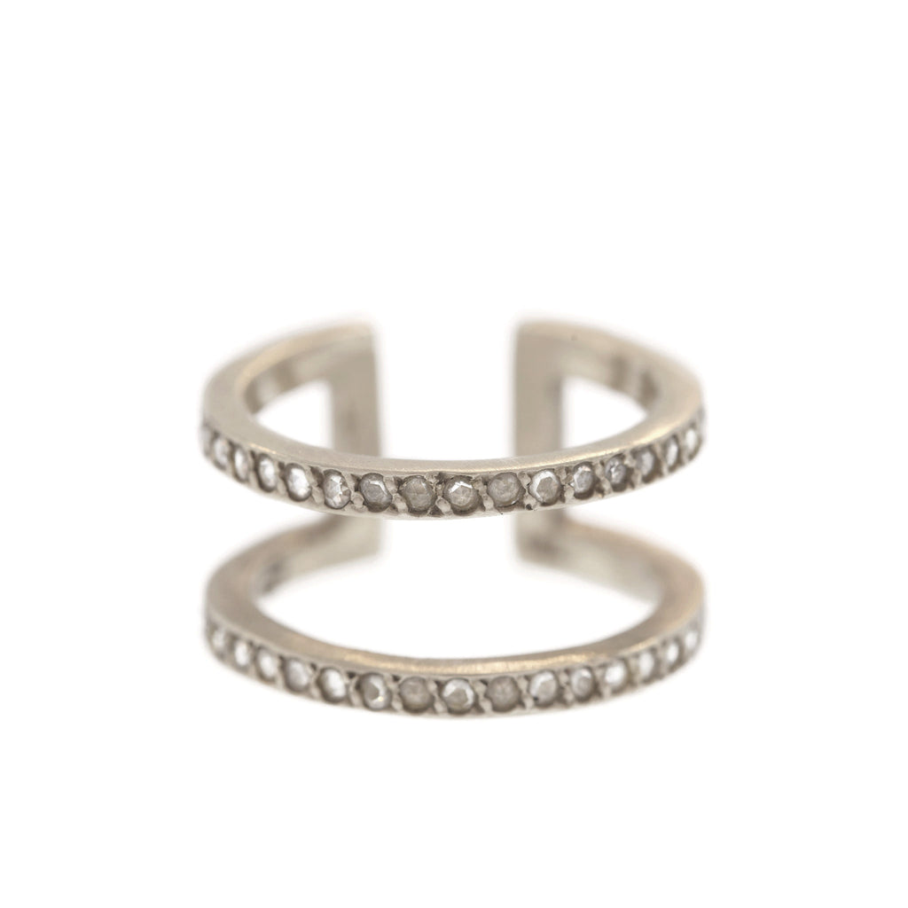 The Diamond Greek Ring in White Gold