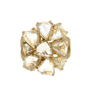 The Rose Cut Diamond Flower Cluster Ring
