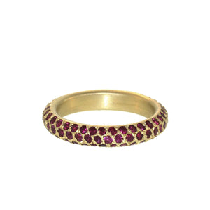 The Triple Row Pavé Ruby Band