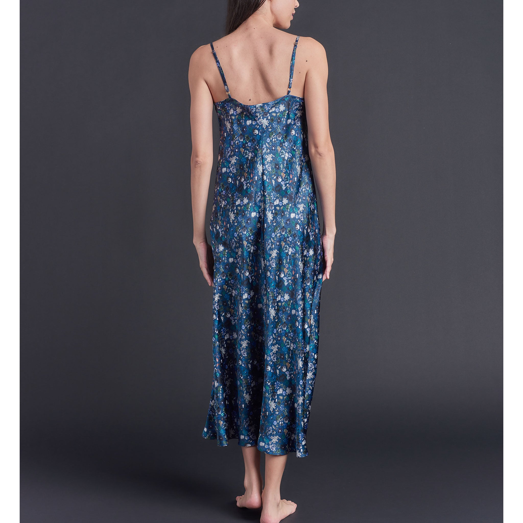 Thea Paneled Slip Dress in Floral Edit Liberty Print Silk Satin