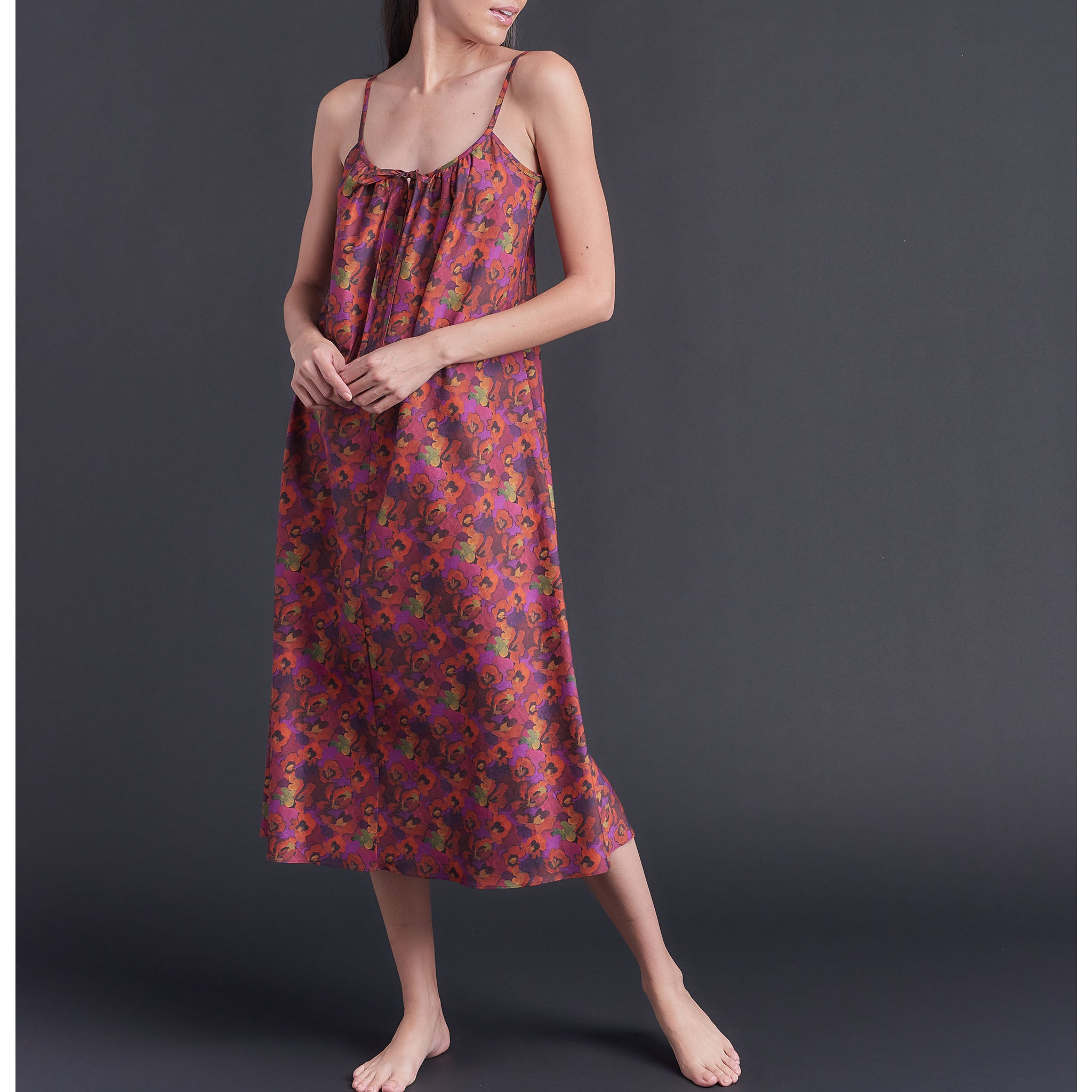 Thea Paneled Slip Dress in Gemma Rose Liberty Print Bias Cotton Lawn