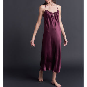 Paneled Slip Dress in Garnet Bias Silk Charmeuse