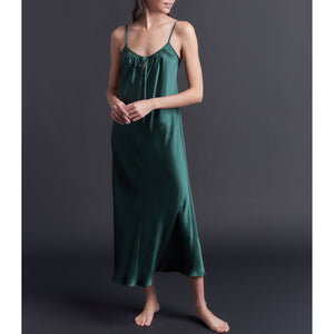 Paneled Slip Dress in Forest Green Bias Silk Charmeuse