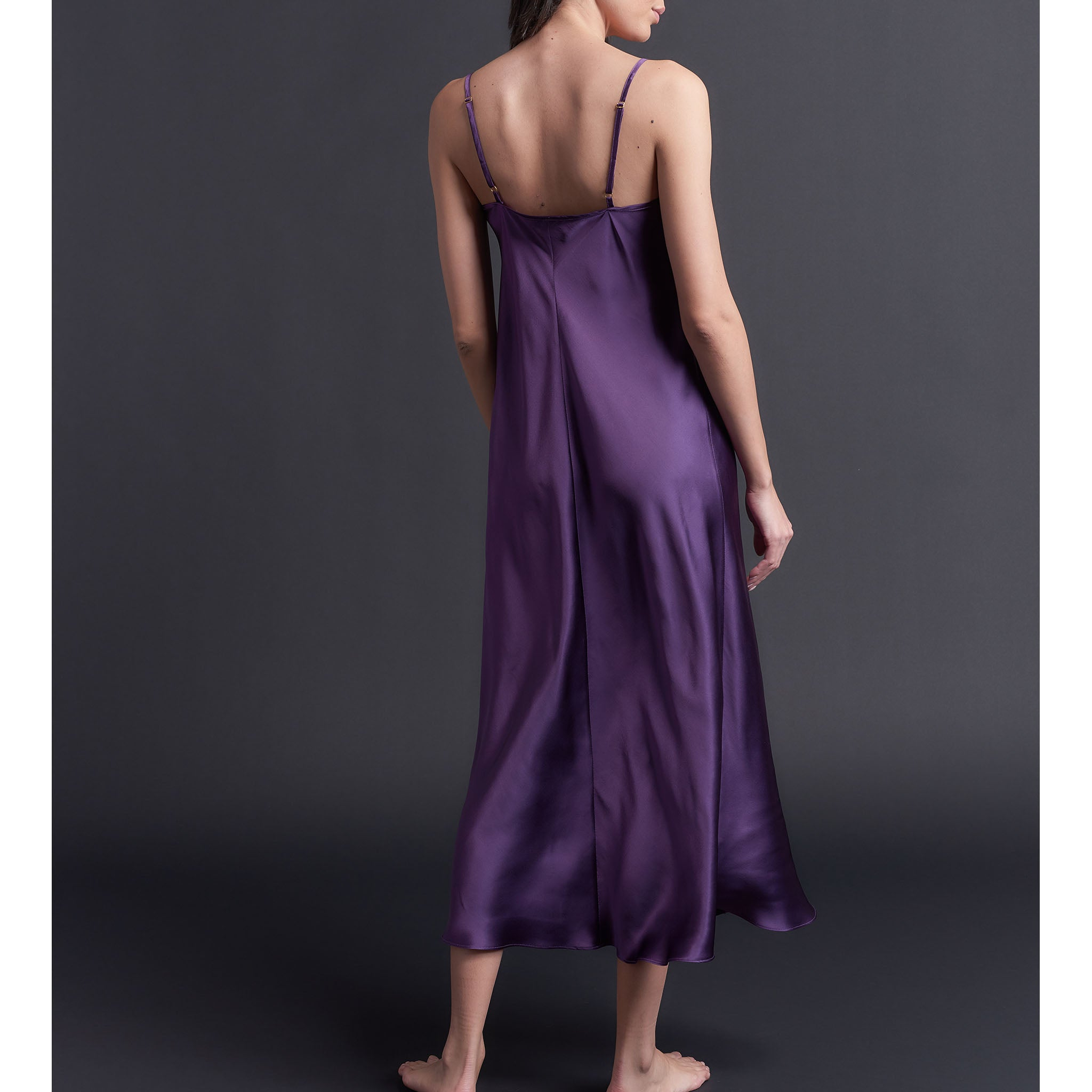 Paneled Slip Dress in Violet Bias Silk Charmeuse