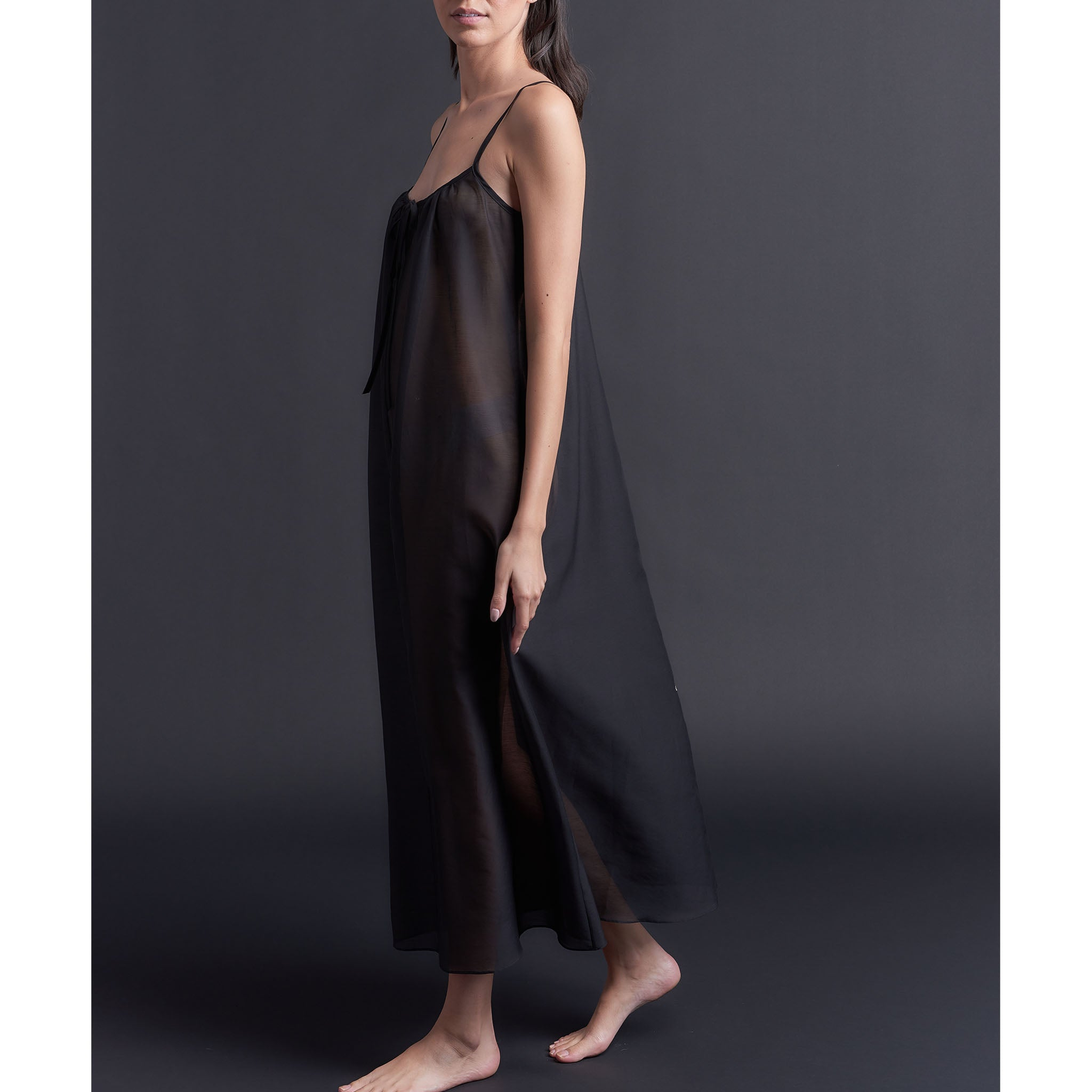 Thea Paneled Slip Dress in Black Silk Cotton Voile