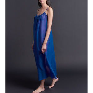 Thea Paneled Slip Dress in Tanzanite Silk Cotton Voile