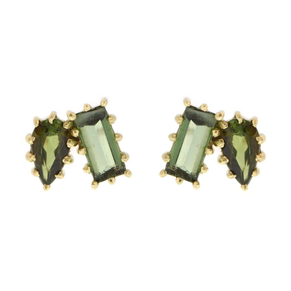 The Green Tourmaline Cluster Stud