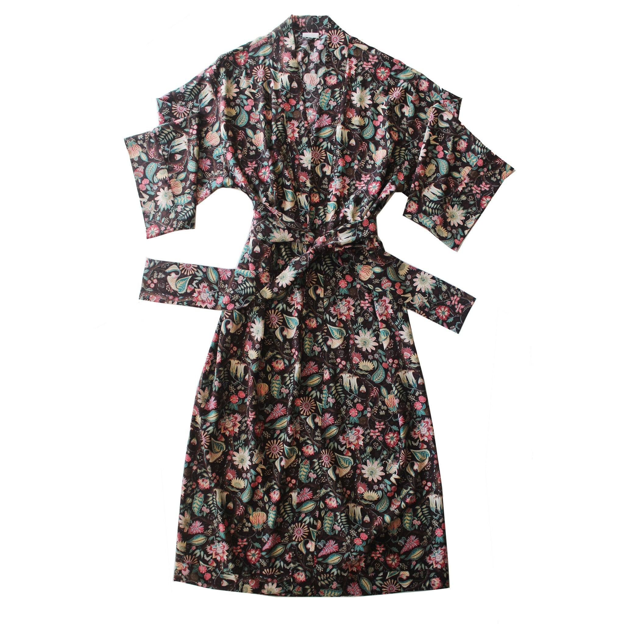 Asteria Kimono Robe in Tree of Life Liberty Print Silk Crepe De Chine