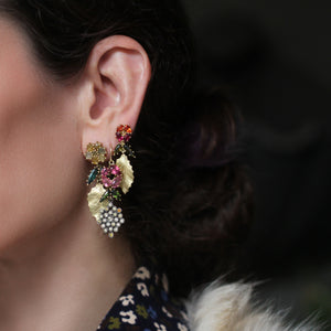 The Diamond Honeycomb + Tourmaline Flower Drop Earring