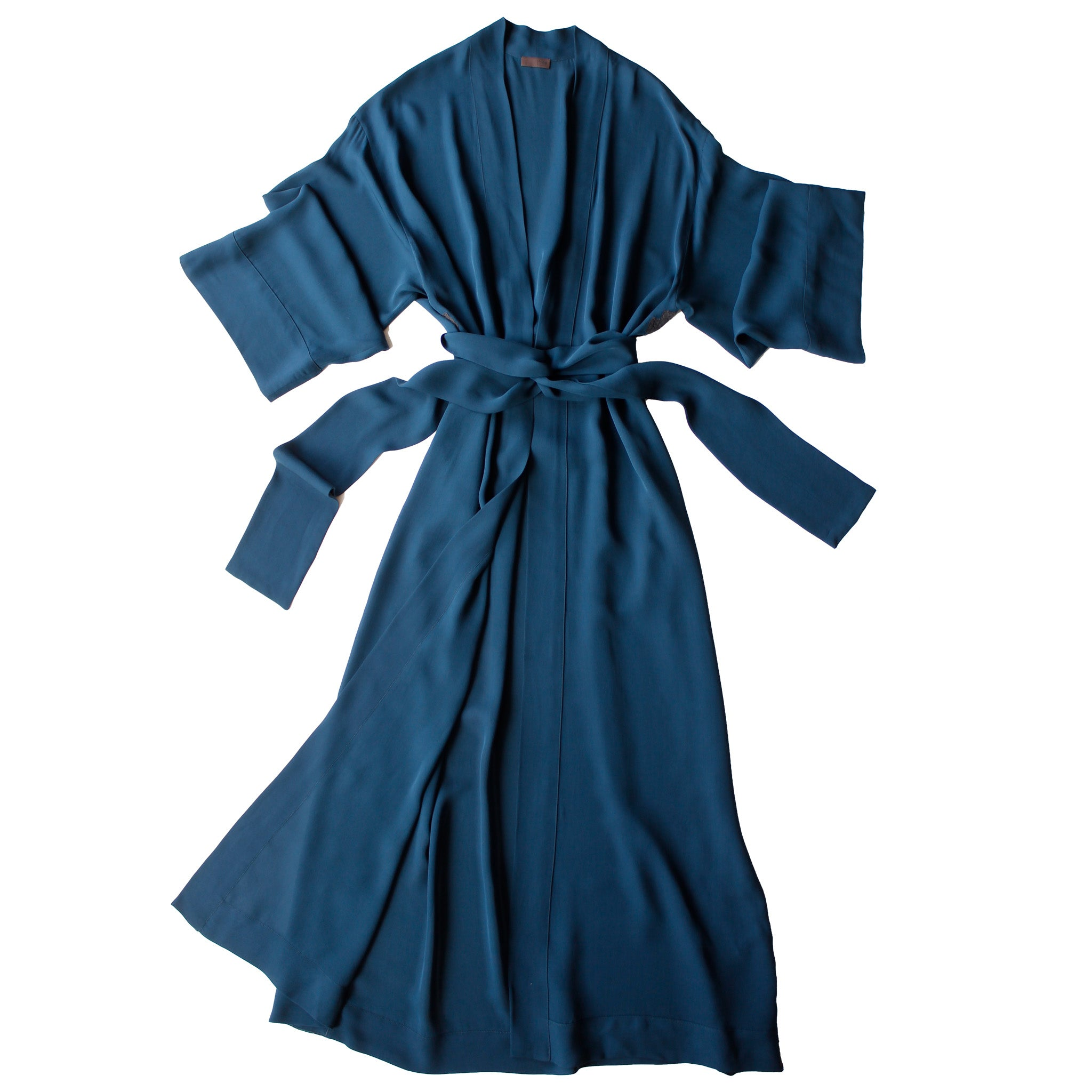 Asteria Kimono Robe in Peacock Silk Double Georgette