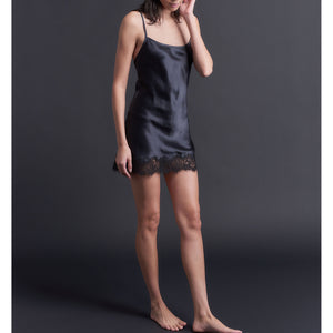 Venus Slip in Black Silk Charmeuse