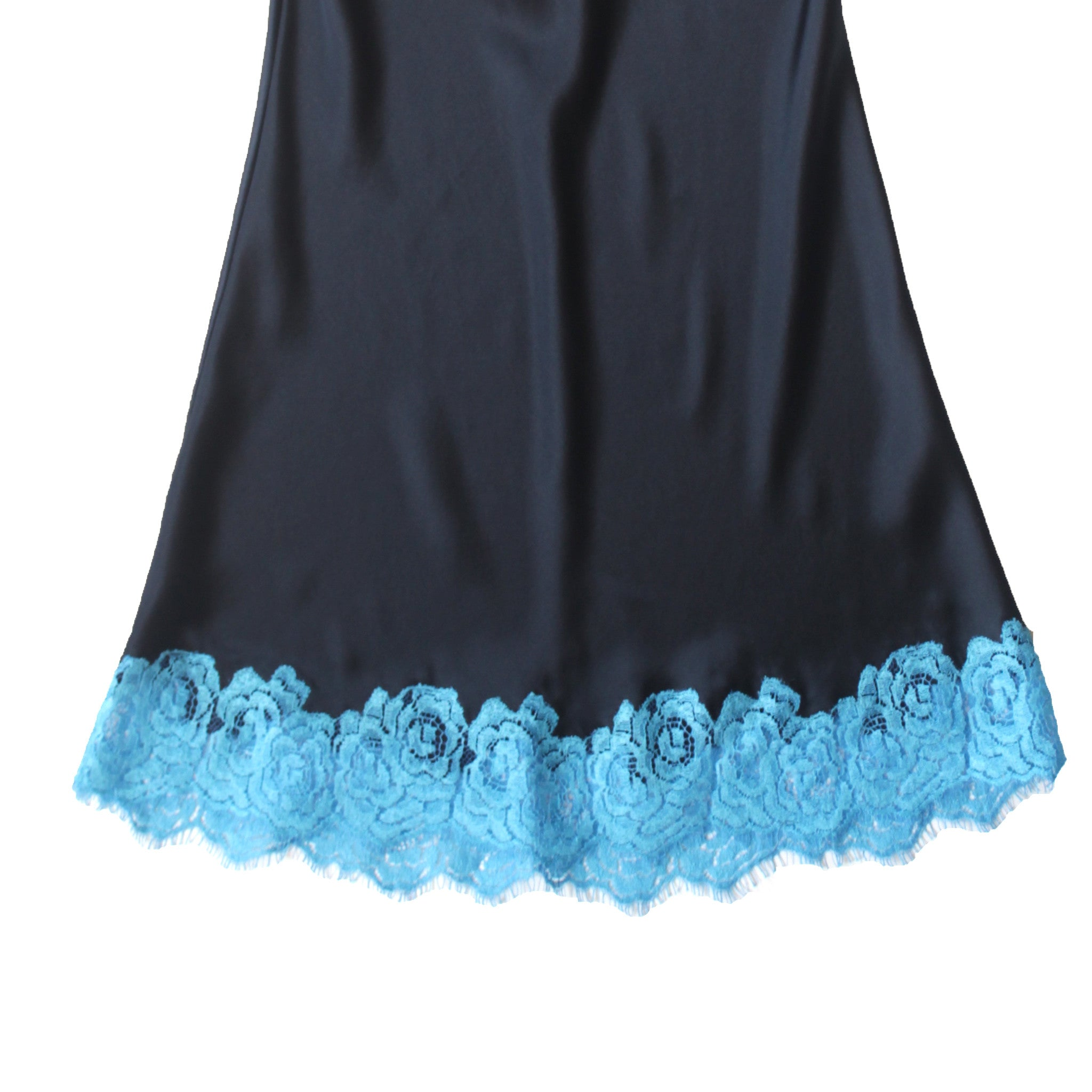 Venus Slip in Sapphire Silk Charmeuse with Turquoise Lace