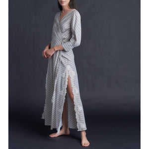 Vesta Wrap Robe in Stripe Italian Cotton and Lace