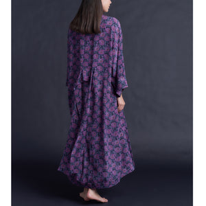 Asteria Kimono Robe in Liberty of London Day Dream Violet Silk Crepe De Chine