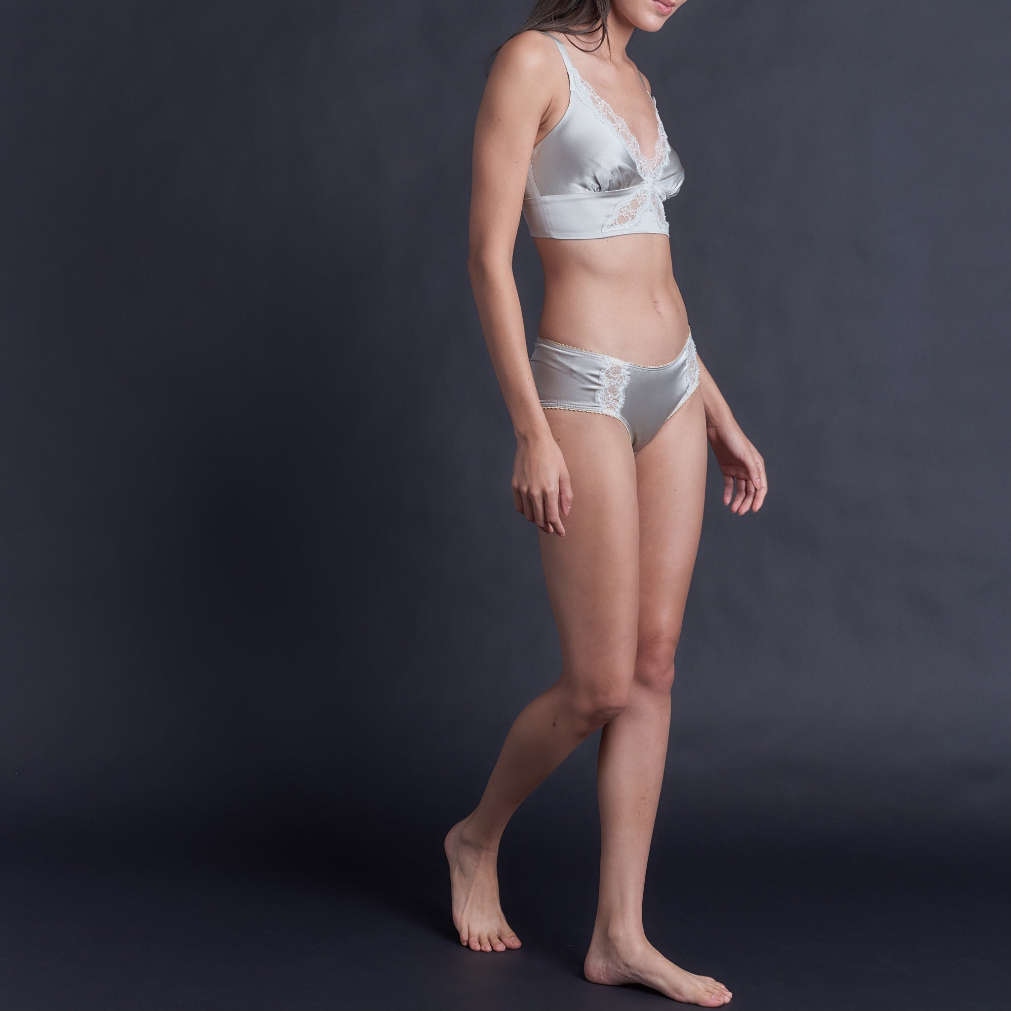 Gaia Bralette in White Gold Stretch Silk Charmeuse