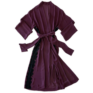 Asteria Kimono Robe in Garnet Silk Double Georgette