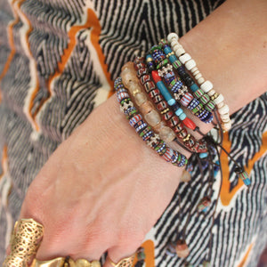 Multi-Striped Beaded Bracelet with Silver