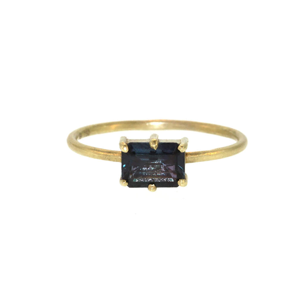 Blue Rectangle Tourmaline Ring