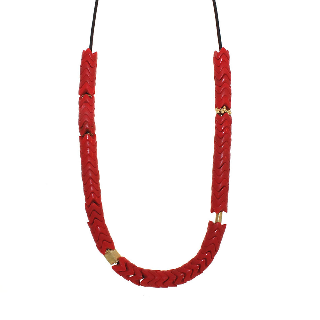 Red Chevron Glass Beaded Necklace