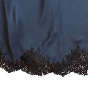 Juno Slip in Sapphire Silk Charmeuse with Lace