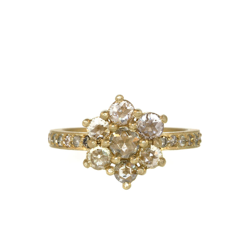 Rose Cut Diamond Flower Ring