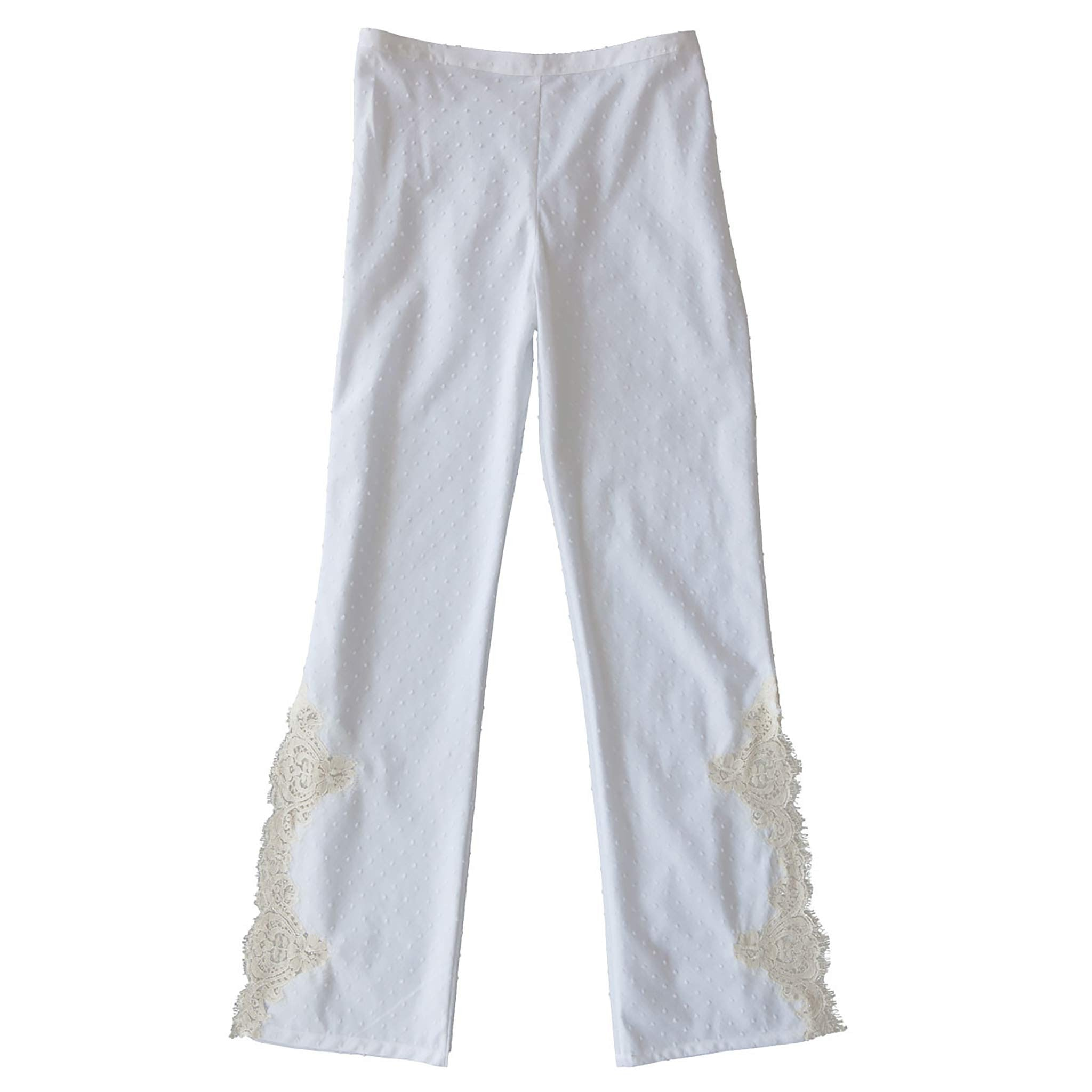 Diana Trouser in White Striped Swiss Cotton Dot