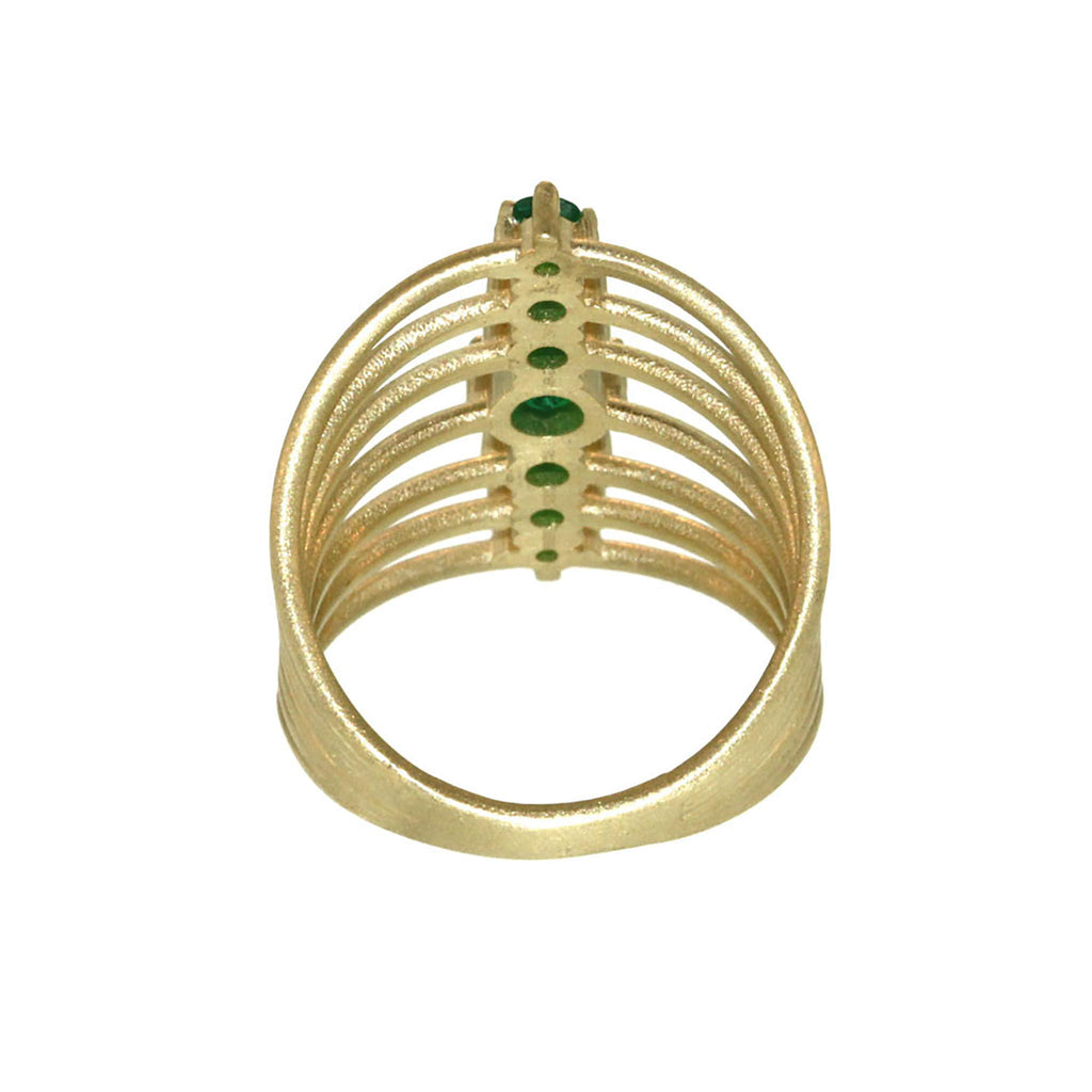 Seven Stone Brilliant Cut Emerald Vertebrate Ring