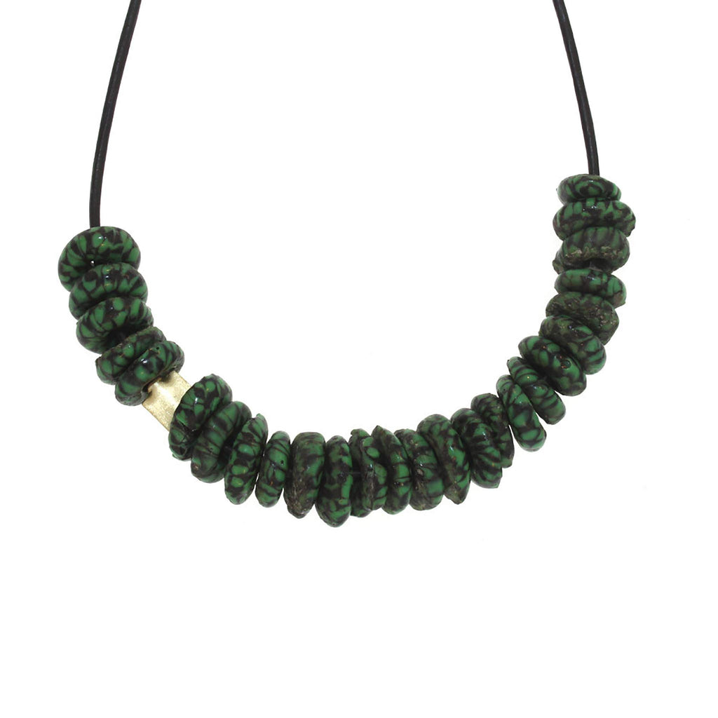 Black + Green Marbleized Glass Bead Necklace