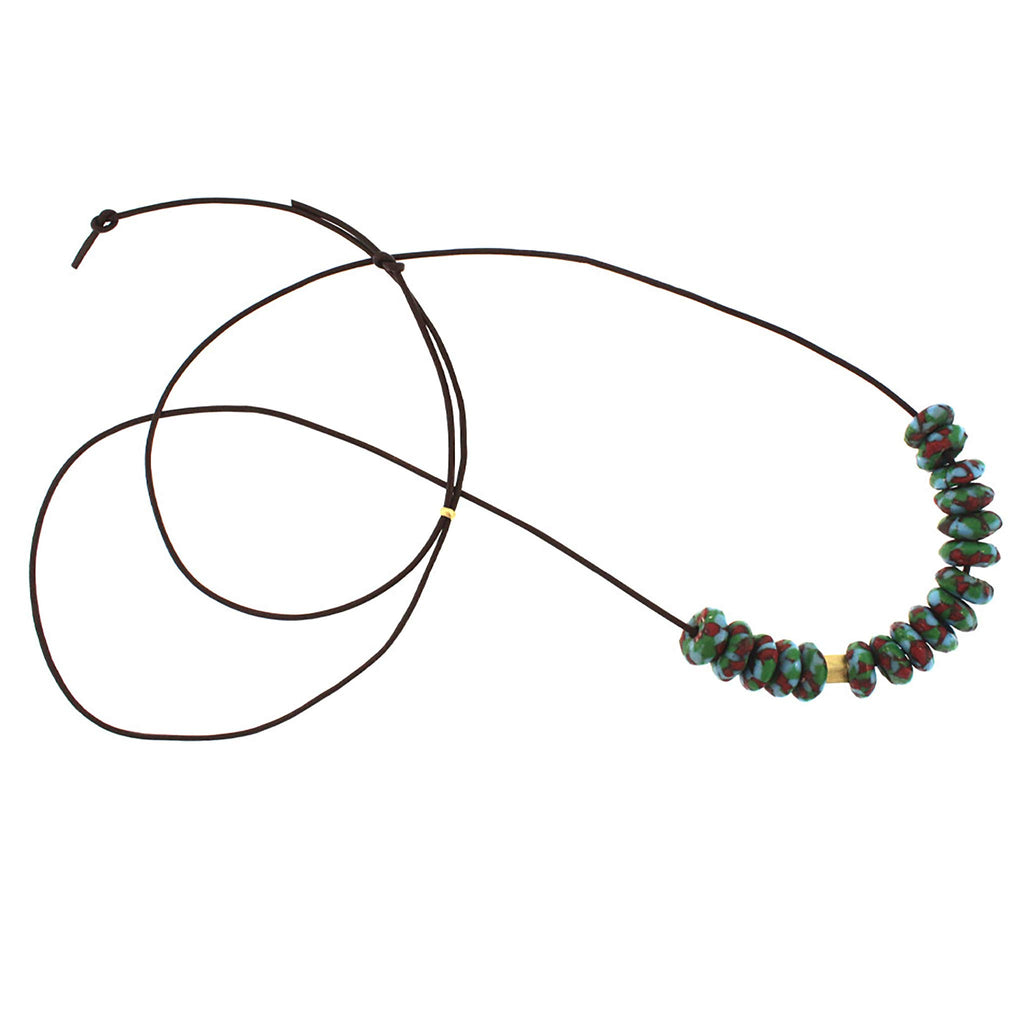 Green, Red, and Blue Marbleized Glass Bead Necklace