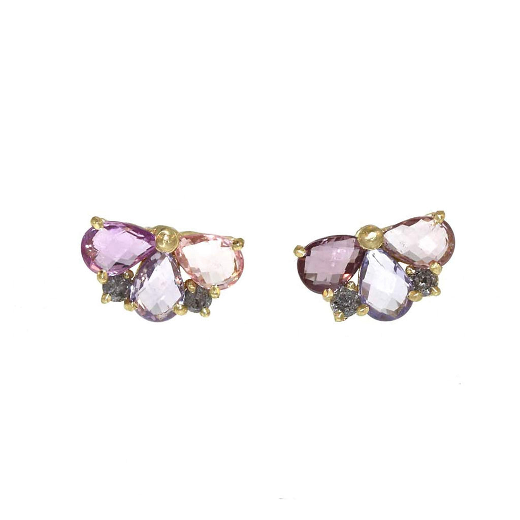 Half-Bloom Sapphire and Diamond Stud Earrings
