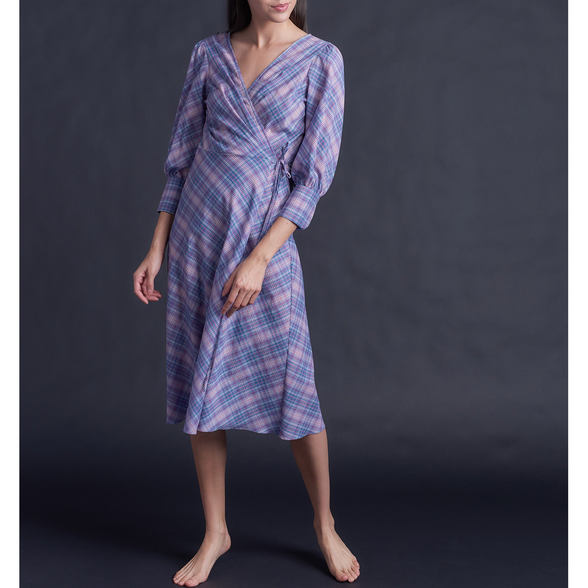 Hestia Wrap Robe in Italian Cotton Plaid