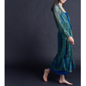 Asteria Kimono Robe in Liberty of London Jade Floral Silk Crinkle Chiffon