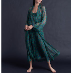 Thea Paneled Slip Dress in Liberty Silk Chiffon Jade Floral