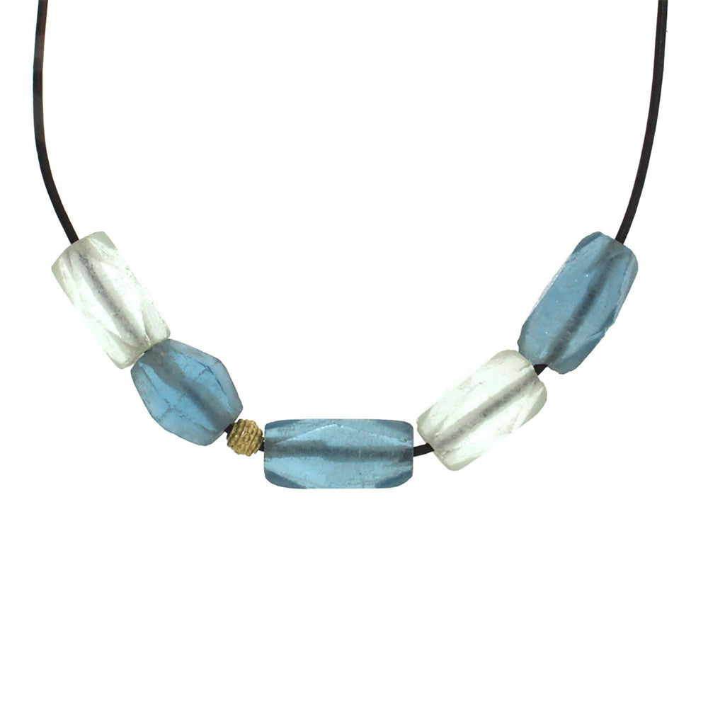 Aqua + Celadon Vintage Glass Bead and Gold Necklace