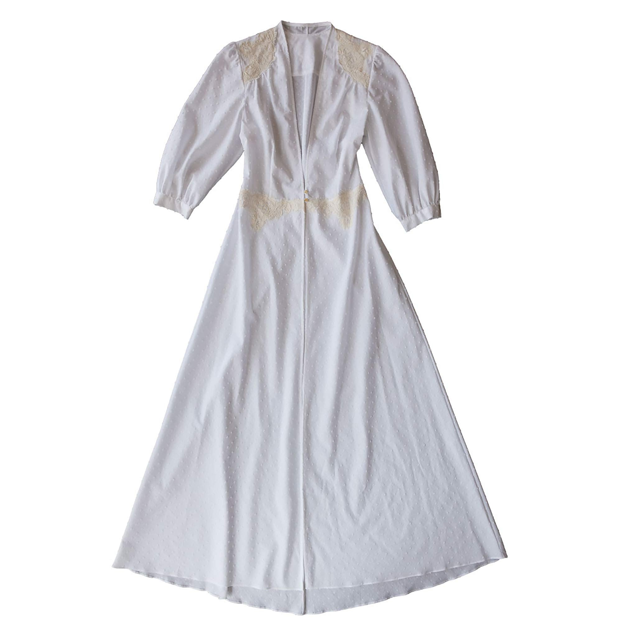 Maia Long Robe in Swiss Cotton Striped Dot