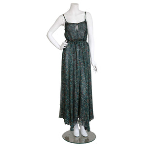 Antheia Slip in Emerald WildFlowers Liberty Print Silk Crinkle Chiffon