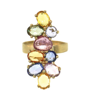 Multicolored Rose Cut Sapphire Cluster Ring