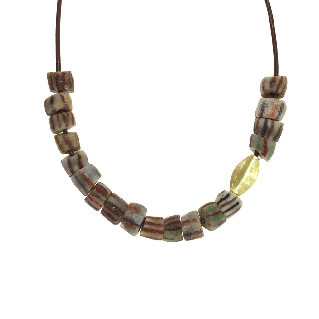 Striped Glass Bead Necklace