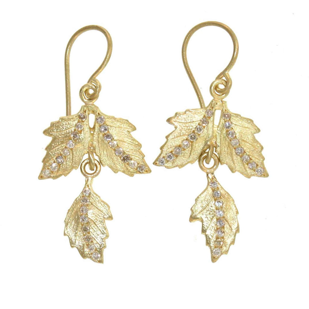 The Paired Oak Leaf and Diamond Drop Earring