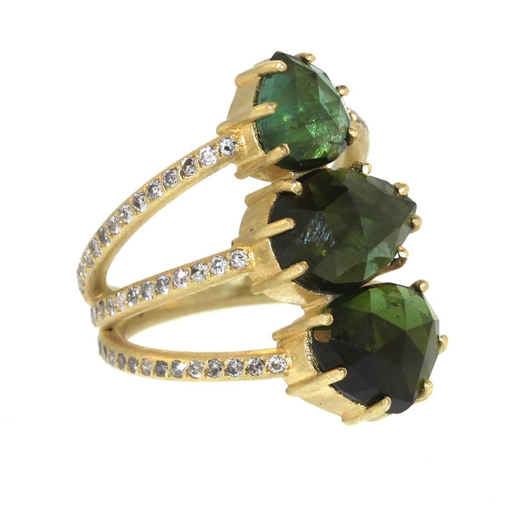 The Green Tourmaline Vertebrate Ring