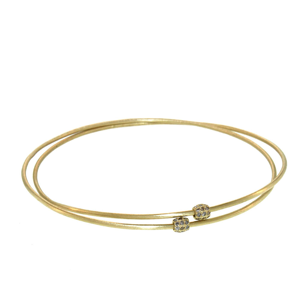 The Entwined Bangle with Pavé Diamond Beads