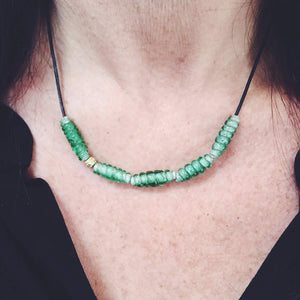 Mint Green Twisted Glass Bead Necklace
